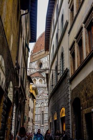 Il Duomo through the city streets